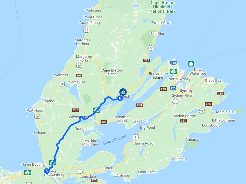 Map of Cape Breton Island showing driving route from Canso Causeway to Baddeck